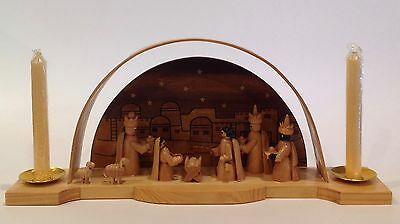 House Of Lloyd Wooden Nativity Bethlehem Arched Tall Taper Candle Holder IOB