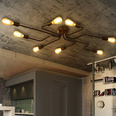Vintage Industrial Ceiling Mount Light Chandelier Steampunk Pendant Lamp Fixture