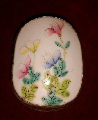 Vintage Chinese Hand Tooled Shard Box, Jewelry Box, Porcelain Pretty Pastel NO.3