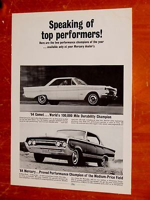 1964 Mercury Marauder 4 Dr Ht & Comet Coupe Top Performers Ad - Vintage American