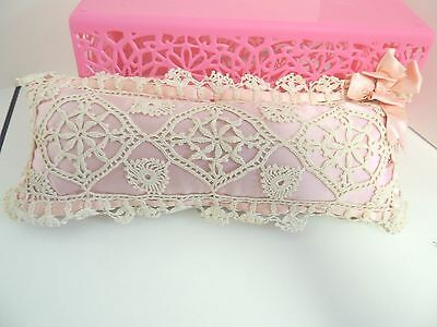"""Antique Vintage Crochet Lace & PINK Silk Pincushion-Hand Made Sewing 11"""" LONG!"""