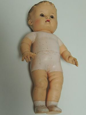 "Vintage 'TOD-L TIM' Vinyl 10"" Boy Baby Doll by SUN RUBBER of Ohio,some marks 40s"