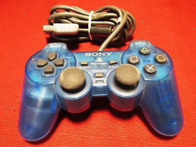 Sony Playstation SCPH-1200 Dualshock 1 (PS1) Controller, Clear Island Blue Color