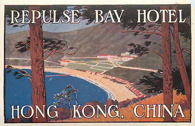 Repulse Bay Hotel ~HONG KONG~ Original DAN SWEENEY Luggage Label, 1935