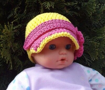Newborn Girls Infant Kids Baby Soft Cotton Knit Hat AU YELLOW NEWSBOY CAP VISOR