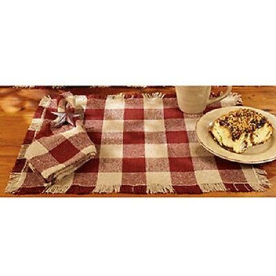 Primitive Country Rustic Barn Red & Tan / Beige Check Cotton Burlap Placemat