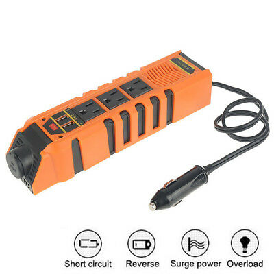 150W Car Power Plug Inverter Receptacle DC 12V to AC 110V USB Charger Adapter