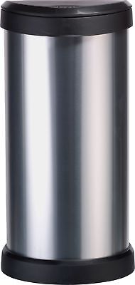 Curver 40 Litre Deco Touch Top Kitchen Bin - Silver.