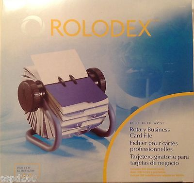 NEW ROLODEX Blue Rotary Business Card File, A-Z Tabs + 200 Sleeved Cards 63299