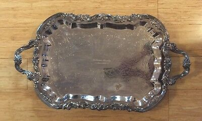"Vintage Fb Rogers Co 25""× 14 1/2"" Footed Silver Plated Tray"