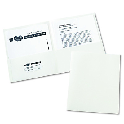 Avery Two-Pocket Folders, White, Box of 25 (47991) New