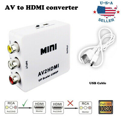 0Input AV RCA to HDMI Output Video Converter Adapter 1080p Upscaler+USB Cable