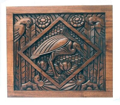 Tropical Art Deco Carved Wooden Panel