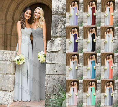 long Chiffon Silver / grey Bridesmaid Dresses Prom Evening Gowns Stock Size 2-26