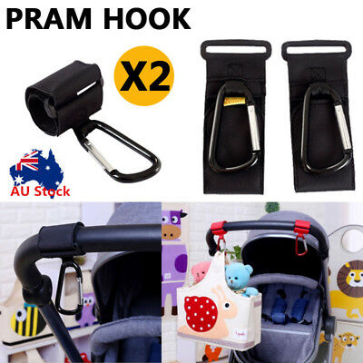 2xPram Hook Baby Stroller Hooks Shopping Bag Clip Carrier Pushchair Hanger Black