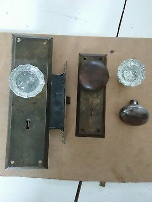 Vintage door knobs w/latch 12 point crystal / glass knobs and 2 original. no key