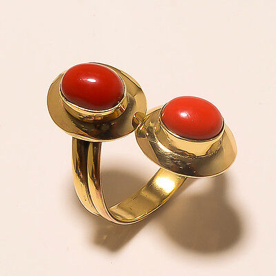 Coral Fashion Tibetan Silver Vintage Solid Brass Ring Jewellery.