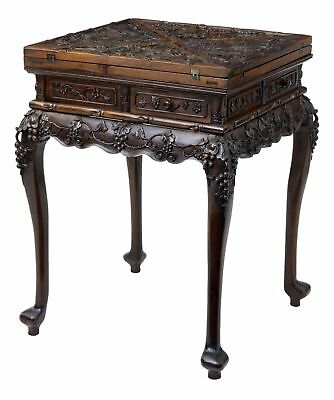 19Th Century Chinese Carved Huanghuali Envelope Games Table