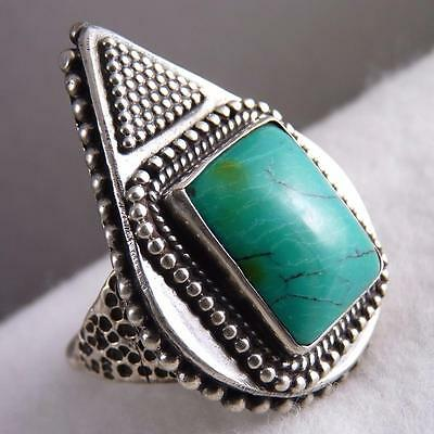 XL/HEAVY Vintage Size US 8 SilverSari TRIBAL Ring 925 Sterling Silver/TURQUOISE