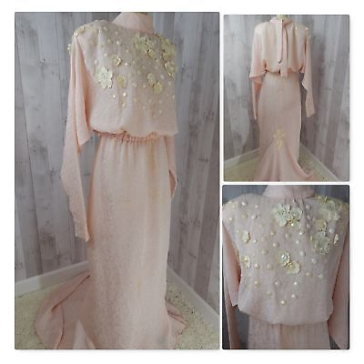 ANTIQUE/VINTAGE Opera Gown~Pale Pink Beads Flower Art Deco Train Custom Made S/M
