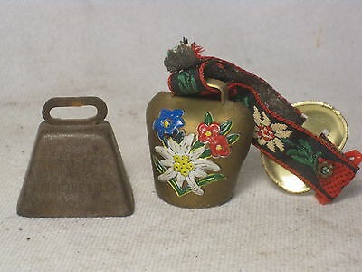 2 vintage bells  Swiss ? & small vintage cowbell  MILK RINGS THE BELL