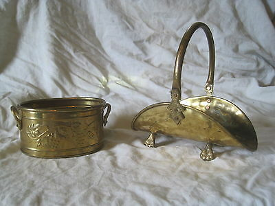 """vintage brass claw foot footed holder 4.5"""" ornate metal Hosley handled planter"""