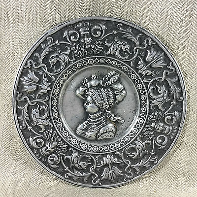 Antique Style Wall Plaque Ornate Medieval Green Man Metal Plate