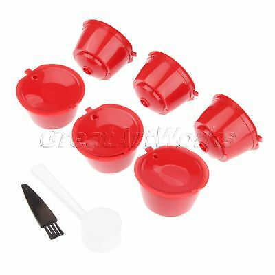 6Pcs Red Refillable Reusable Dolce Gusto Coffee Capsules Pods Defoaming Filter