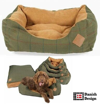 Danish Design Tweed Snuggle Dog Beds Available in Green - High Quality