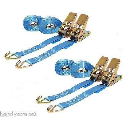 Ratchet Straps Tie Down 4 x 25mm 5 Meter Blue 800kg Lashing Trailer Handy Straps