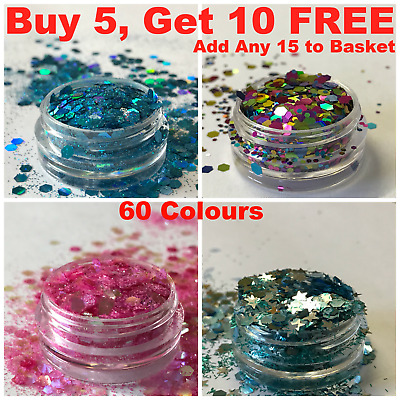 Chunky Glitter Fine Eye shadow Pot Nail Face Body Tattoo Festival Club Cosmetic