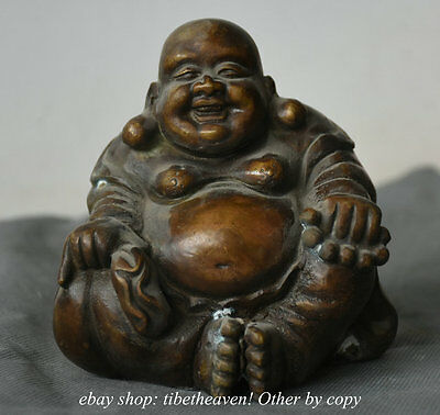 12CM Old Chinese Copper Temple Happy Laugh Maitreya Buddha Statue Sculpture Q
