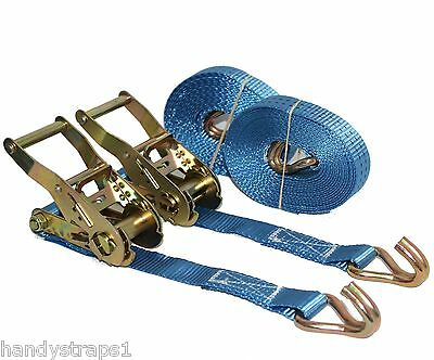 Ratchet Straps Tie Down  2 x 5m x 25mm  1.5 tons Claw Lorry Lashing Handy Straps