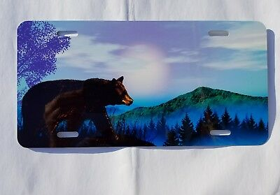 Outdoor Black Bear Car Truck License Plate Auto Tag