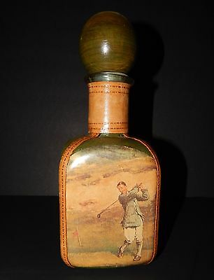 Green Wood Leather Covered Decanter Liquor Wine Whiskey Old Style Golf Italy