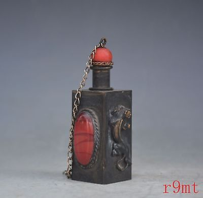 Collectible Handmade Old Copper Carve Lizard Inlay Agate Auspicious Snuff Bottle