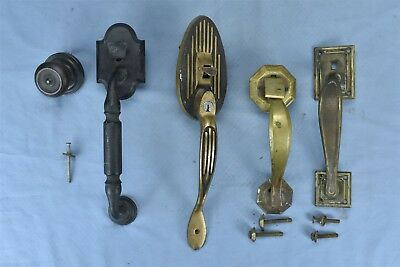 Antique MIXED LOT of 4 LARGE BRASS PULL DOOR HANDLE SALVAGE HARDWARE OLD #04681