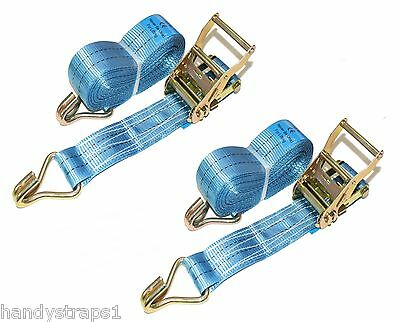 2 x 50mm 6 Meter  Ratchets Tie Down Straps 2 tons Lorry Lashing