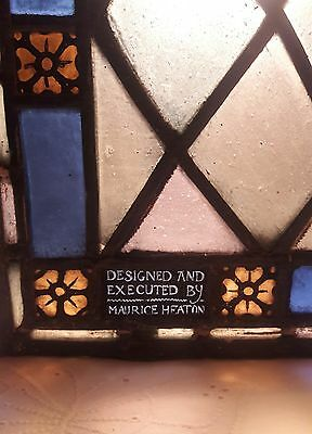 "Vintage, Maurice Heaton Stained Glass Window Pane -Signed 15 1/2 "" x 25"""