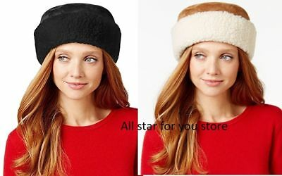 Nine West Womens Hats Curly Faux Fur Cuff Cloche Camel OR Black Sherpa One Size