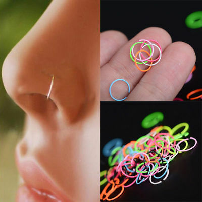20Pcs Nose Ring Surgical Steel Nose Piercing Lip Hoop Ring Stud Piercing Jewelry