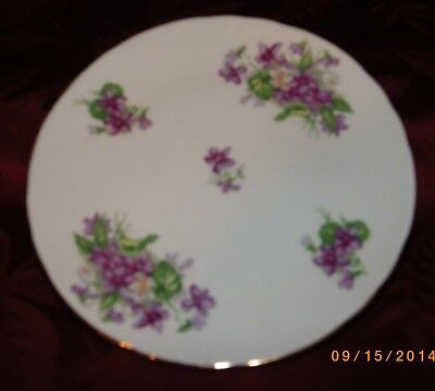 "Tuscn Fine English Bone China 8"" Lavender Plate Forget Me Not Pattern Gold Trim"
