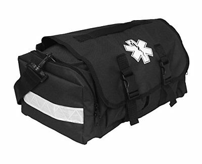 First Responder EMT Paramedic On Call Trauma Bag W/ Reflectors Black Emergency