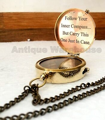 """""""Let Your Heart Be Your Compass"""" Nautical Brass Working Compass With Chain"""