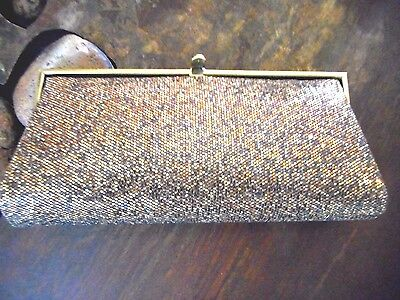 Burnished Gold Evening Bag Clutch w/ Gold Clasp & Zip Inside Compartment