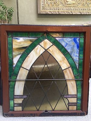Antique Stained Glass Slag Glass Window Sash - Leaded Stained Glass Window LARGE