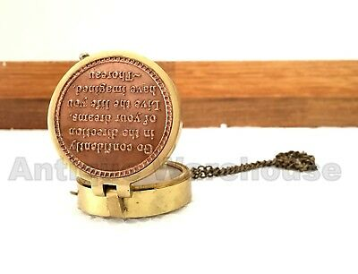 """Solid Brass Compass """"GO CONFIDENTIALLY IN THE DIRECTION OF YOUR DREAMS"""" Gift"""