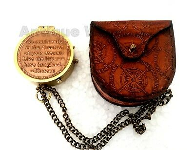Brass Compass With Chain/Case GO CONFIDENTIALLY IN THE DIRECTION OF YOUR DREAMS