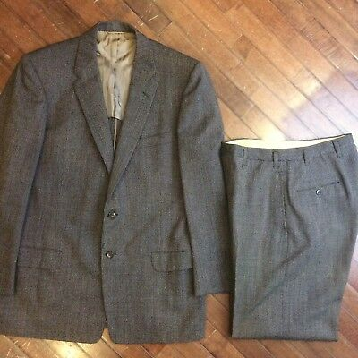 JC Penney Townclad Vintage 50s Course Brown Speckled Flecked Wool Mens 42 Suit