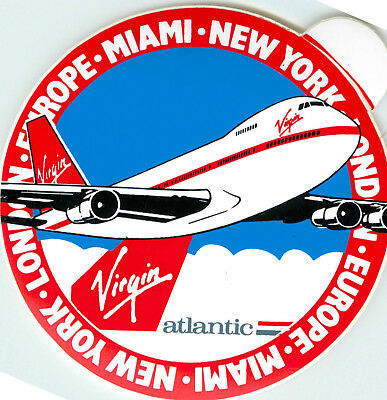 VIRGIN ATLANTIC AIRLINES - Vibrant Old Luggage Label / Decal, c. 1980's